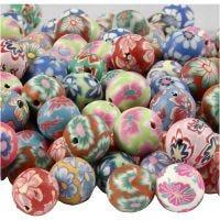 Perline di argilla, diam: 10 mm, misura buco 1 mm, colori asst., 200 asst./ 1 conf.