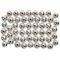 Perline di cera, diam: 5 mm, misura buco 0,7 mm, argento, 100 pz/ 1 conf.