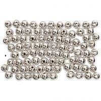 Perline di cera, diam: 4 mm, misura buco 0,7 mm, argento, 150 pz/ 1 conf.