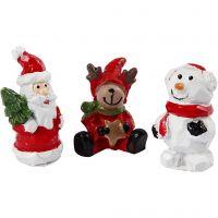Piccole figure, Babbo Natale, renna e pupazzo di neve, H: 35 mm, L: 10 mm, 3 pz/ 1 conf.