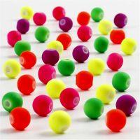 Perline neon, diam: 6 mm, misura buco 1,2 mm, 50 g/ 1 conf.