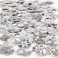 Pendente, misura 20-37 mm, misura buco 2+2,5 mm, il contenuto può variare , argento antico, 278 pz/ 1 conf.