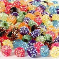 Perline con diamanti sintetici, misura 9x13 mm, misura buco 5 mm, il contenuto può variare , colori asst., 300 pz/ 1 conf.