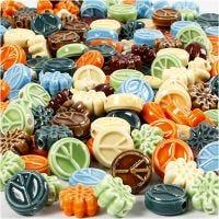 Perle in ceramica, misura 7x15 mm, misura buco 2 mm, il contenuto può variare , colori asst., 224 pz/ 1 conf.
