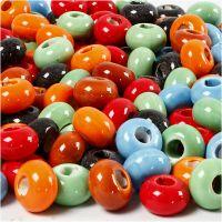 Gancio in ceramica, diam: 15 mm, misura buco 5,5 mm, il contenuto può variare , colori asst., 300 pz/ 1 conf.