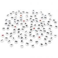 Perline lettere, misura 7 mm, misura buco 1,2 mm, bianco, 25 g/ 1 conf.