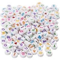 Perline lettere, misura 7 mm, misura buco 1,2 mm, bianco, 200 g/ 1 conf.
