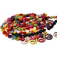 Perle in Howlite, diam: 12-15 mm, misura buco 1,5 mm, nero, colori forti, 8 fili/ 1 conf.