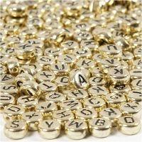 Perle lettere, diam: 7 mm, misura buco 1,2 mm, oro, 21 g/ 1 conf.