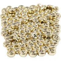 Perle lettere, diam: 7 mm, misura buco 1,2 mm, oro, 165 g/ 1 conf.