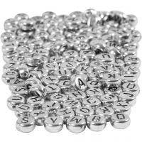 Perle lettere, diam: 7 mm, misura buco 1,2 mm, argento, 165 g/ 1 conf.