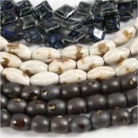 Perle in ceramica, L: 12-19 mm, misura buco 2 mm, blu, grigio beige, avorio, 99 pz/ 1 conf.