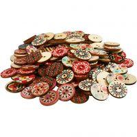 Bottoni di legno, diam: 20 mm, 180 pz/ 1 conf.