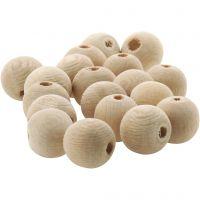 Perlina di legno, diam: 10 mm, misura buco 3 mm, 500 pz/ 1 conf.