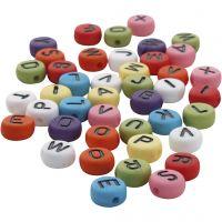 Perline rotonde con lettere, diam: 7 mm, misura buco 1-2 mm, colori asst., 25 g/ 1 conf.