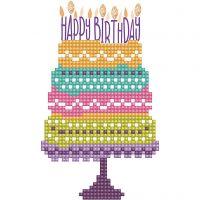 Diamond Dotz, Torta di compleanno, dim. cartoncino 12,6x17,7 cm, dim. busta 13,6x18,6 cm, 1 conf.