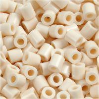 Perline a tubetto, misura 5x5 mm, misura buco 2,5 mm, medium, beige chiaro (32251), 1100 pz/ 1 conf.
