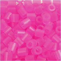 Perline a tubetto, misura 5x5 mm, misura buco 2,5 mm, medium, rosato neon (32257), 1100 pz/ 1 conf.