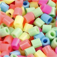 Perline a tubetto, misura 5x5 mm, misura buco 2,5 mm, medium, colori pastello, 5000 asst./ 1 secch.
