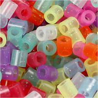 Perline a tubetto, misura 5x5 mm, misura buco 2,5 mm, medium, colori brillanti, 6000 asst./ 1 conf.