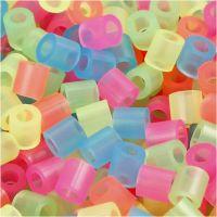 Perline a tubetto, misura 5x5 mm, misura buco 2,5 mm, medium, colori neon, 6000 asst./ 1 conf.