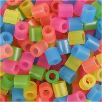 Perline a tubetto, misura 5x5 mm, misura buco 2,5 mm, medium, colori neon, 1100 asst./ 1 conf.