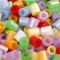 Perline a tubetto, misura 5x5 mm, misura buco 2,5 mm, medium, colori perlati, 20000 asst./ 1 secch.