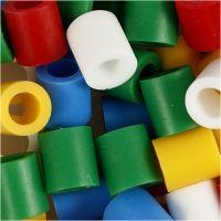 Perline a tubetto, misura 10x10 mm, misura buco 5,5 mm, JUMBO, colori standard, 550 asst./ 1 conf.