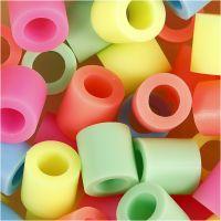 Perline a tubetto, misura 10x10 mm, misura buco 5,5 mm, JUMBO, colori pastello, 3200 asst./ 1 conf.