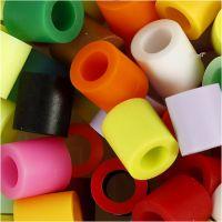 Perline a tubetto, misura 10x10 mm, misura buco 5,5 mm, JUMBO, colore aggiuntivo, 550 asst./ 1 conf.