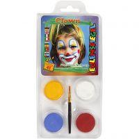 Pittura facciale Eulenspiegel - set tema, clown, colori asst., 1 set