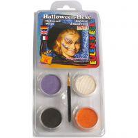 Pittura facciale Eulenspiegel - set tema, strega di halloween, colori asst., 1 set
