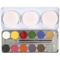Pittura facciale a base d'acqua, colori asst., 12 color/ 1 set