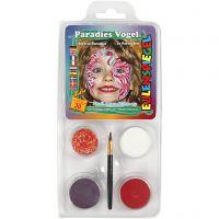 Pittura facciale Eulenspiegel - set tema, uccello del paradiso, colori asst., 1 set