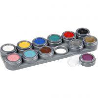 Tavolozza trucco viso a base d'acqua, colori asst., 12x2,5 ml/ 1 pz