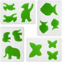 Stampi decorativi, animali, H: 6+8+10 cm, P 9 mm, misura 14,9x22 cm, 4 pz/ 1 conf.