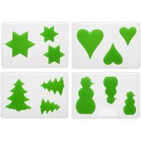 Stampi decorativi, Natale, H: 6+8+10 cm, P 9 mm, misura 14,9x22 cm, 4 pz/ 1 conf.