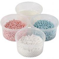 Pearl Clay® , azzurro, rosso chiaro, avorio, 1 set, 3x25+38 g