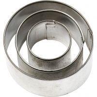 Formine in metallo, rotondo, misura 40x40 mm, 3 pz/ 1 conf.