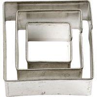 Formine in metallo, quadrato, misura 20+30+40 mm, 3 pz/ 1 conf.
