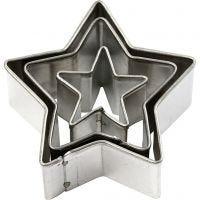 Formine in metallo, stella, misura 40x40 mm, 3 pz/ 1 conf.