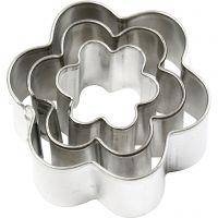 Formine in metallo, fiore, misura 40x40 mm, 3 pz/ 1 conf.