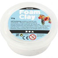 Foam Clay® , glitter, bianco, 35 g/ 1 vasch.