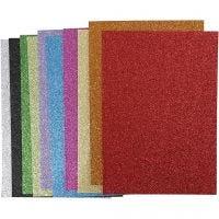 Fogli di EVA foam, A4, 210x297 mm, spess. 2 mm, glitter, colori asst., 10 fgl. asst./ 1 conf.
