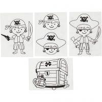 Fogli di plastica restringente con motivi, pirati, 10,5x14,5 cm, spess. 0,3 mm, trasparente opaco, 4 fgl./ 1 conf.