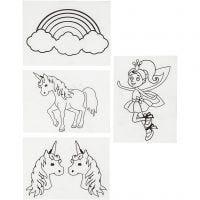 Fogli di plastica restringente con motivi, unicorni, 10,5x14,5 cm, spess. 0,3 mm, trasparente opaco, 4 fgl./ 1 conf.