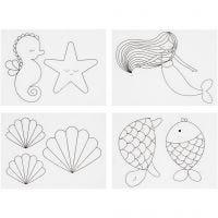 Fogli di plastica restringente con motivi, sirena, 10,5x14,5 cm, spess. 0,3 mm, trasparente opaco, 4 fgl./ 1 conf.