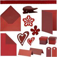 Happy Moments - kit per realizzare biglietti, rosso, porpora, rosso/porpora, porpora/rosso, 160 pezzo/ 1 conf.