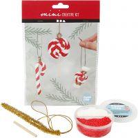 Mini kit creativo, Decoro pendente a forma di bastoncino di zucchero natalizio, 1 set