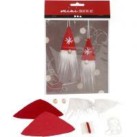 Mini kit creativo, gnomo di Natale da appendere, H: 11 cm, 1 set